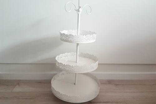 Balts 3 stāvu statīvs ar putniņu