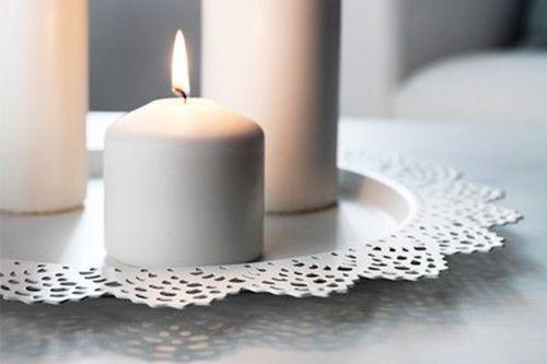 Lielie mežģīņu sveču paliktņi/ šķīvji