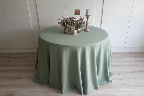 Sage zaļš apaļais galdauts