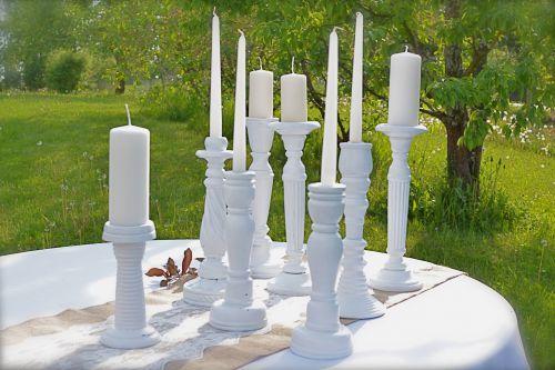 Shabby chic baltu svečturu komplekts