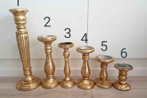 Shabby zelta svečturi 1- 46 cm