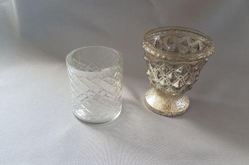 Stikla svečturi ar dimanta rakstu