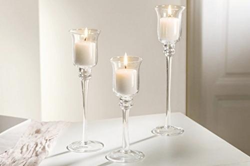 Stikla svečturi uz kājiņas ar sudraba maliņu