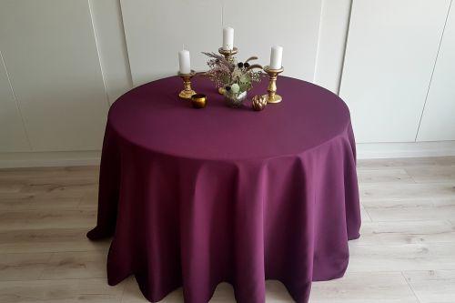 Tumši violets apaļais galdauts